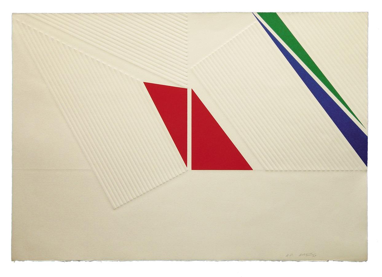 """מיכאל ארגוב, ללא כותרת (1977), הדפס-רשת ותלחיץ, גובה 52 ס""""מ, רוחב 75 ס""""מ"""