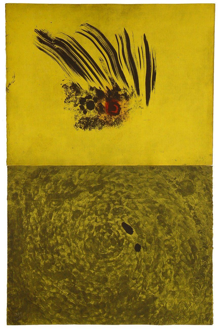 """משה גרשוני, ללא כותרת, (1992), דיפטיך; תצריב, שעוה רכה, אקוטינטה ועיפרון חשמלי, גובה 99 ס""""מ, רוחב 63 ס""""מ"""