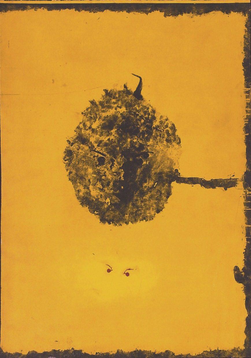 """משה גרשוני, ללא כותרת (1992), אקוטינטה, אקוטינטת-סוכר, שעווה רכה ועיפרון חשמלי, גובה 105 ס""""מ, רוחב 76 ס""""מ"""