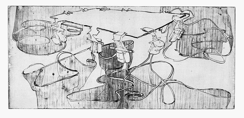 """אוריאל מירון, שולחן מתיחה (2007), תצריב ואקווטינטת סוכר, גובה 31 ס""""מ, רוחב 63 ס""""מ"""