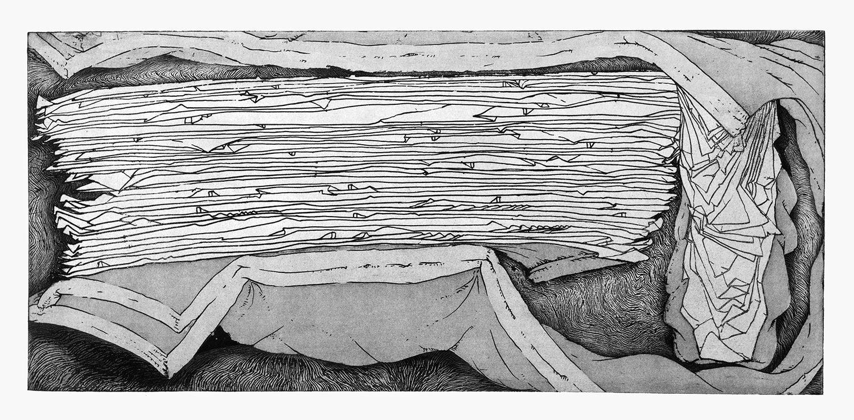 """אוריאל מירון, נקודת רוויה (2007), אקווטינטת-סוכר ואקווטינטה משוייפת, גובה 31 ס""""מ, רוחב 63 ס""""מ"""