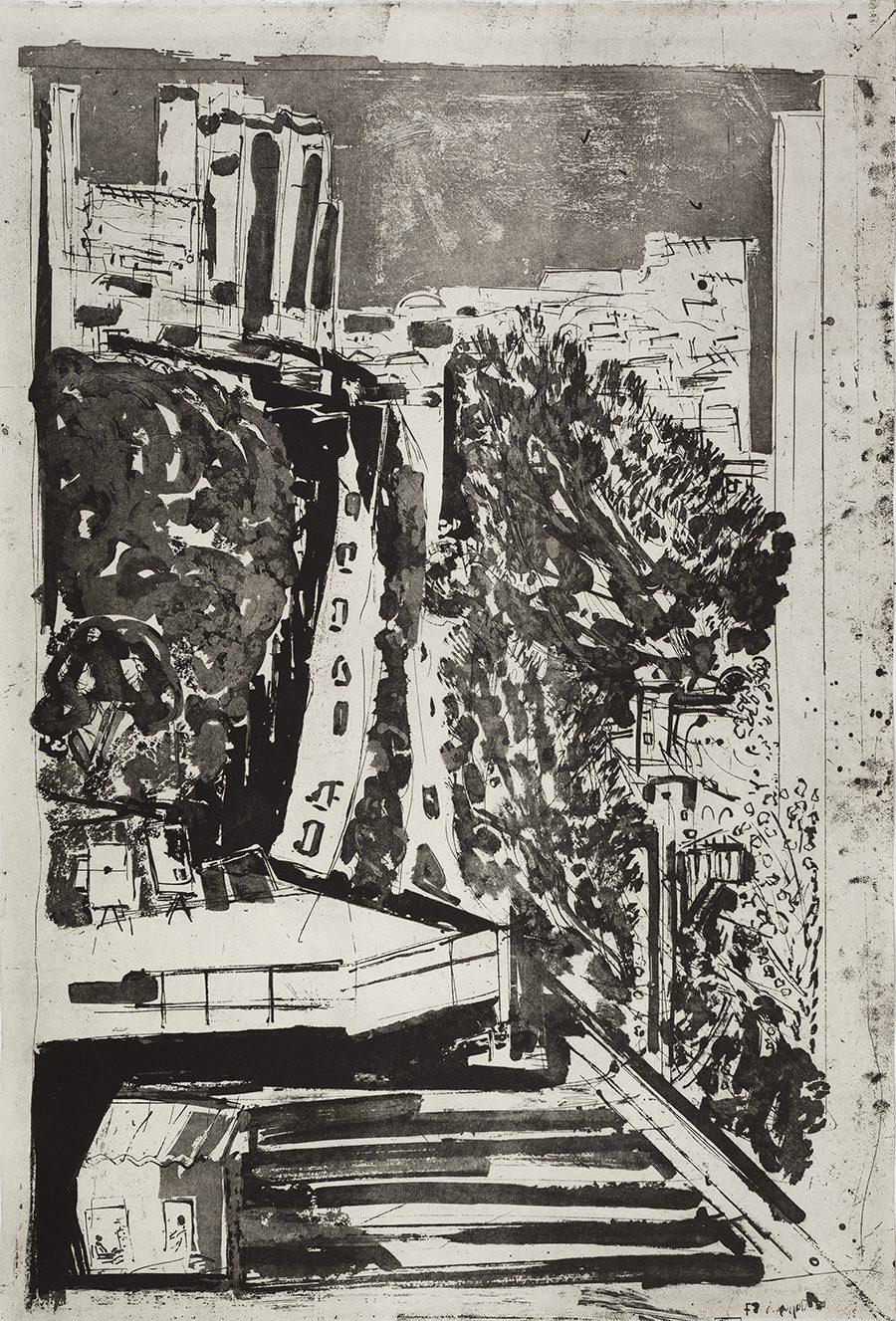 """שדרות בן-צבי (1987), אקווטינטת סוכר, גובה 105 ס""""מ, רוחב 76 ס""""מ, מהדורה: 25"""