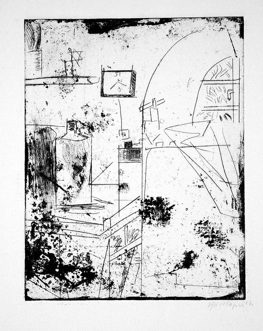 """ליליאן קלאפיש, סדנה (1994), תחריט יבש, גובה 38 ס""""מ, רוחב 28 ס""""מ"""
