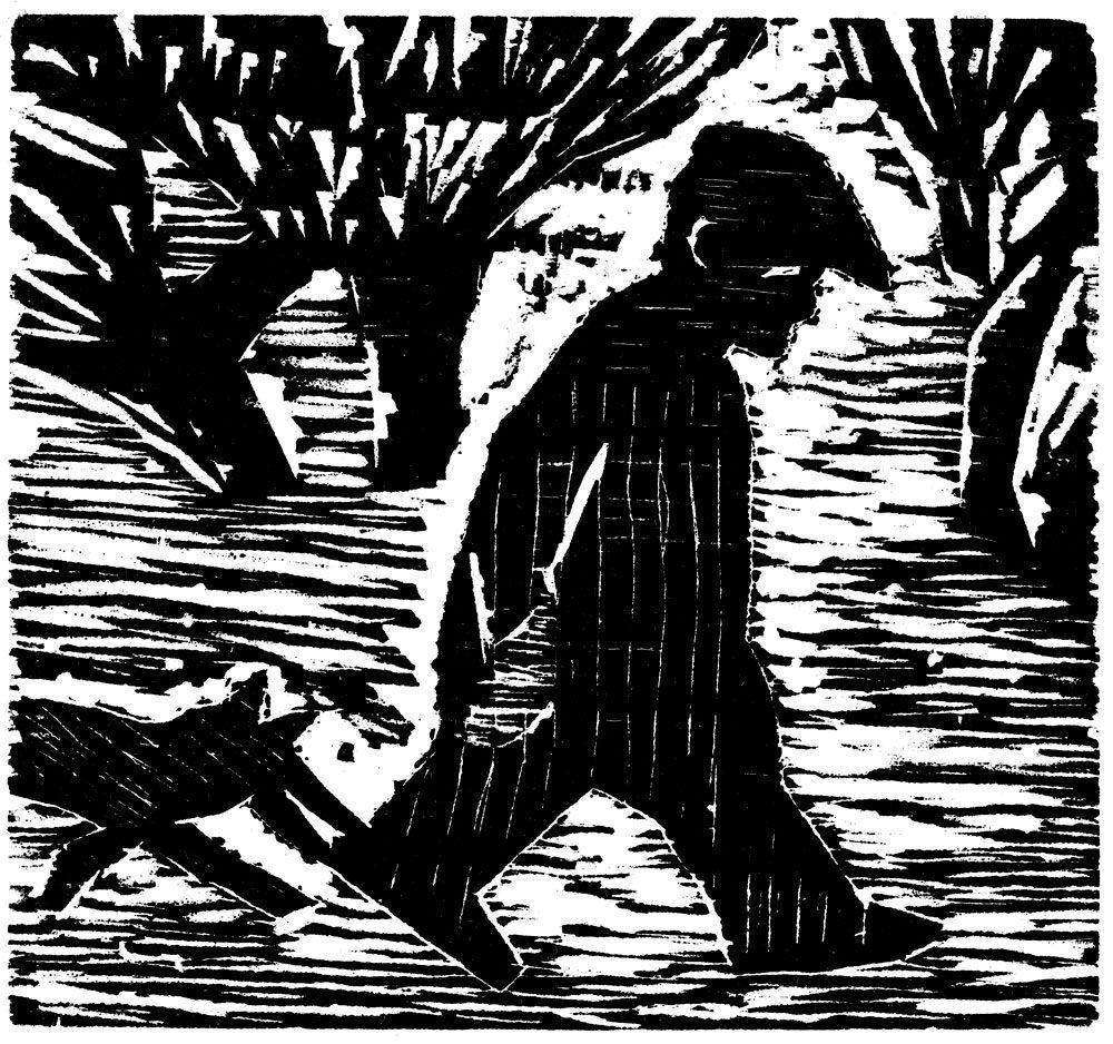 """אלכס קרמר, טיול בגן (2009), חיתוך-עץ, גובה 30 ס""""מ, רוחב 25 ס""""מ"""