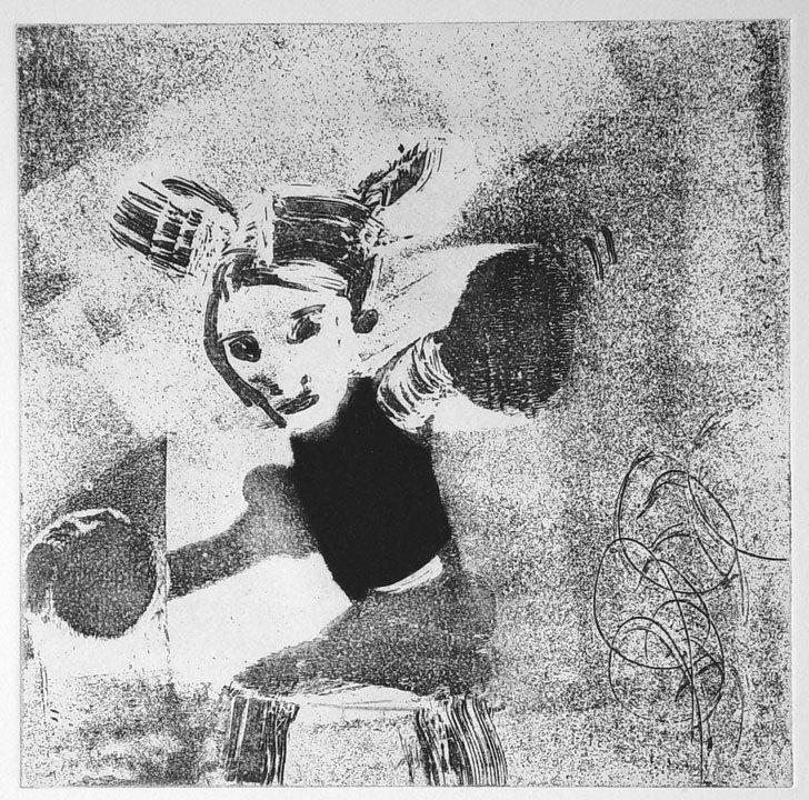 """מיכל בקי, ללא כותרת (2002), תצריב, שעווה-רכה ועפרון חשמלי, גובה 31 ס""""מ, רוחב 25 ס""""מ"""
