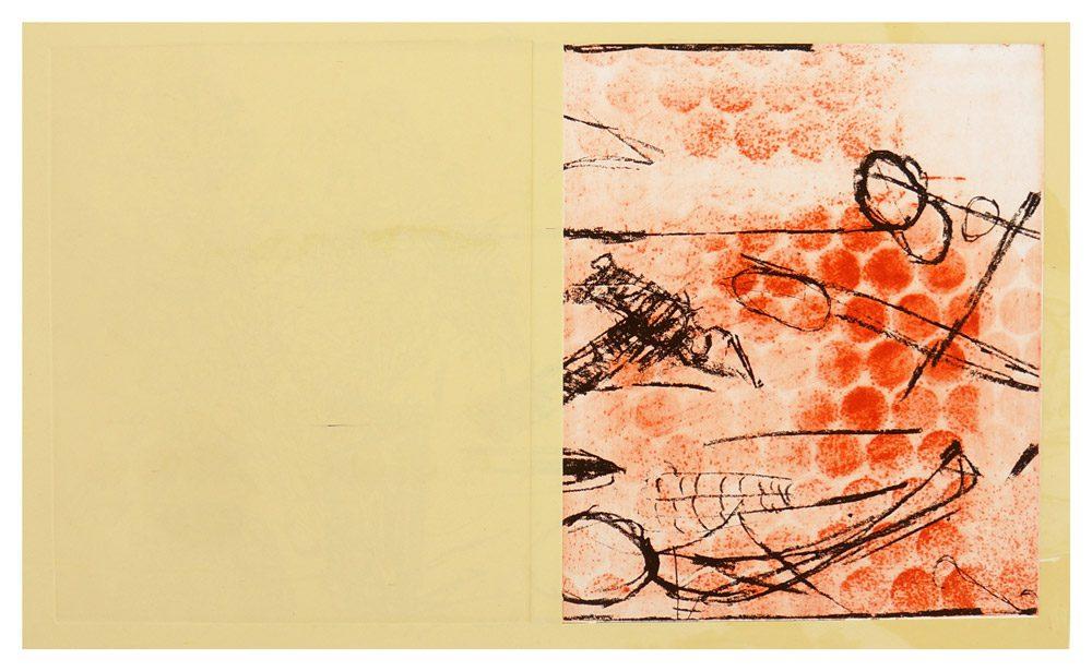 """שרון פוליאקין, ללא כותרת (2017), תצריב, אקווטינטה ודפוס-רשת גובה 61 ס""""מ, רוחב 83 ס""""מ, מהדורה: 5"""