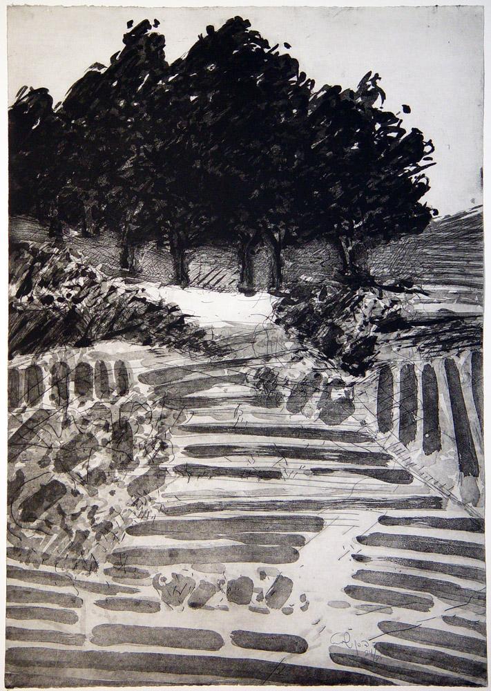 """דוד בן-שאול, בריכת השולטן  (1987), תצריב ואקווטינטת-סוכר, גובה 105 ס""""מ, רוחב 76 ס""""מ"""