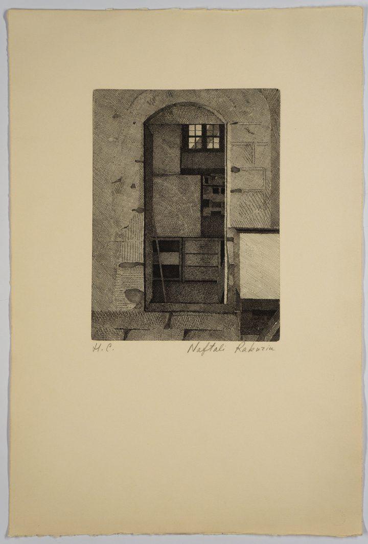 Naftali Rakuzin, The Old Jerusalem Workshop (1975), etching, 56.5 x 38 cm