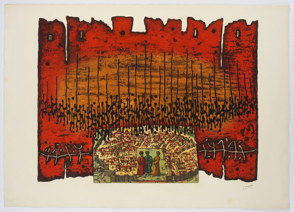 Moshe Castel, Sanhedria (1978-1979), Photoetching, aquatint, roll up color and embossing, 75 x 105 cm; Publisher: Engel Gallery, Jerusalem
