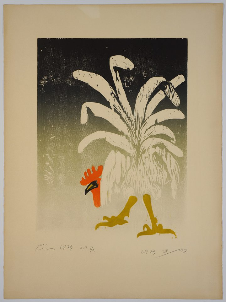 Jacob Pins, White Rooster (1979), woodcut, 76.5 x 57 cm