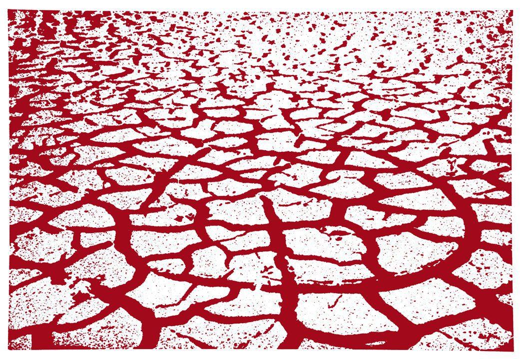 """מנשה קדישמן, אדמה בקועה (1983), תצריב צילומי וגלגול צבע, גובה 78.8 ס""""מ, רוחב 105.4 ס""""מ"""