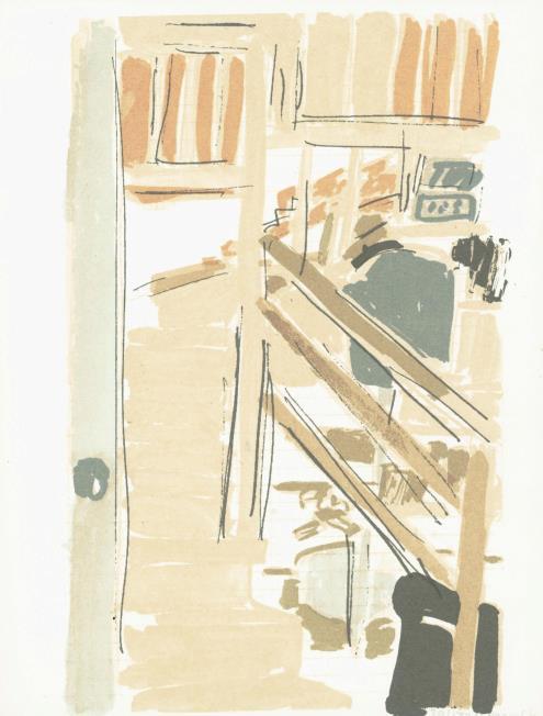 """מתוך """"פנקס: ליליאן קלאפיש, הדפסים, דן פאגיס, שירים"""" (1980), ספר-אמן; 9 הדפסי-רשת ו-2 הדפסי-אבן, מאוגדים בתיק קרטון, גובה 26 ס""""מ, רוחב 20 ס""""מ (כ""""א), מהדורה: 180, הופק והודפס במרכז ברסטון לגרפיקה, ירושלים"""